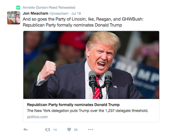 Jon Meacham tweet on Donald Trump