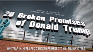Trump Voters: One Year in, and he's Broken 20 Big Promises He Made to You